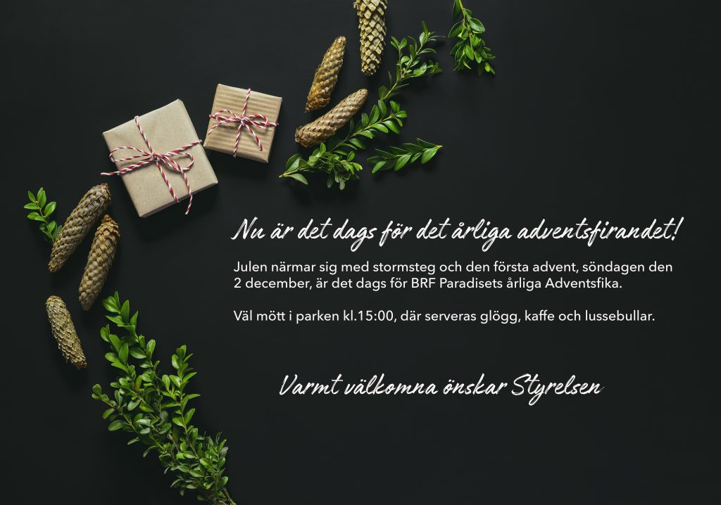 Christmas or New Year simple dark background with a space for a greeting text, flat lay, view from above